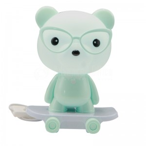 Lampe bureau enfant MDUP Mini Skateboard Table lamp MD66002A, Alimentation secteur avec Bouton, Forme Ours à lunette BLEU