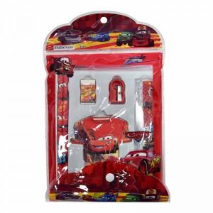 Kit scolaire GOLDEN Fantaisie PM 6 pièces (2 Crayons Noir, Gomme, Taille crayon, Carnet Forme T-shirt, Règle de 15cm) à Motif Cars, en Pochette à bouton