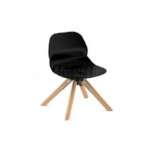 Chaise visiteur MODUS pietement en bois sans accoudoir, Noir