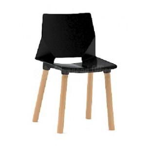 Chaise visiteur MODUS pietement en bois sans accoudoir Série HF, Noir