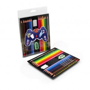 Boite de 12 Crayon de couleur VERTEX Color Max Kit avec gomme, taille crayon, crayon noir