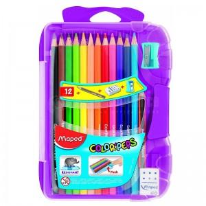 Boite de 12 crayons couleur MAPED Color'Peps + Crayon noir, taille crayon et gomme
