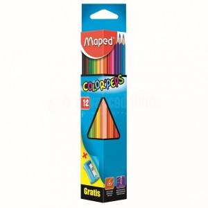 Boite de 12 crayons couleur MAPED + taille crayon