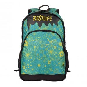 "Sac à dos porte PC BESTLIFE Fashion BSB-3294GE 15.6"" Vert Motif fleurs"