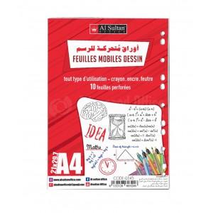 Pochette de 10 Feuilles mobiles pour dessin AL SULTAN A4 Blanche
