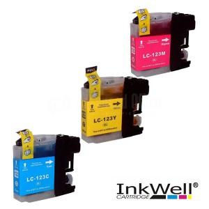Pack de 3 Cartouche couleur CYM INKWELL Compatible BROTHER LC123 pour DCP-J132W/J470DW/J6920DW
