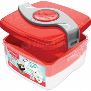 Boîte à Déjeuner écolier MAPED Picnik en plastique 170 x 153 x 80mm, 2 Compartiments superposé (2 niveaux) 1.4 Litre avec hélice amovible, Rouge