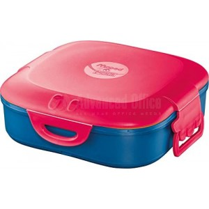 Boîte à Déjeuner écolier MAPED Picnik en plastique 168 x 168 x 56mm, Compartiment simple 0.74 Litres à Fermeture clips, Bleu à couvercle Rose