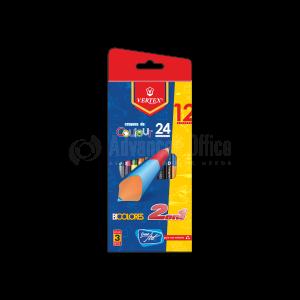 Boite de 12 crayons de couleur double VERTEX Color MAX VS-0416