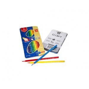 Boite de 12 Crayon de couleur VERTEX , boite métallique