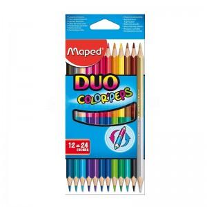 Boite de 12 crayons couleur MAPED bicolore
