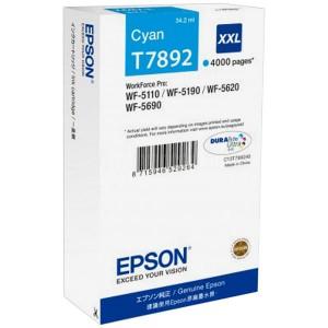 Cartouche EPSON T7892 XXL Cyan pour WF-5110/5190/5620/5690, 4000 pages