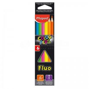 Boite de 06 crayons de couleur MAPED Color'Peps FLUO