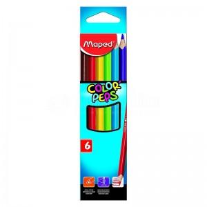 Boite de 06 crayons de couleur MAPED Color'Peps