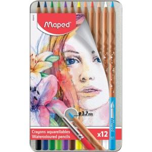 Boite métallique de 12 Crayons de couleur artistes Aquarellables MAPED à Mine tendre et résistante 3.7mm avec pinceau