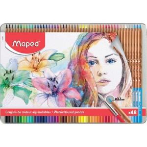 Boite métallique de 48 Crayons de couleur artistes Aquarellables MAPED à Mine tendre et résistante 3.7mm avec pinceau