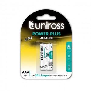 Jeu de 2 piles UNIROSS Power Plus Alkaline AAA