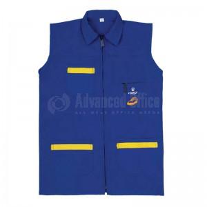 Robe tablier primaire VERTEX TAB-BL004 à col, Fermeture central à glissière (éclair), Sans manches, Bleu avec 3 Poches pour Garçon 11-12 ans avec Bavette
