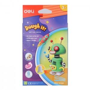 Ensemble robot d'argile molle de Pâte à Modeler DELI Doughit Soft Clay D851 00, 6 Couleurs, Multi fluorescente avec Dépliant
