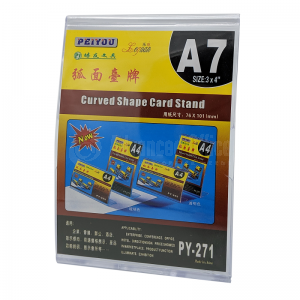 Présentoir de carte courbé PEIYOU Leguan Curved Shape Card Stand A7 en plastique 76 x 101mm Vertical