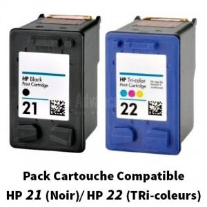 Pack de 2 Cartouches compatible HP 21/22 (Noir, Tri-coleur) pour Deskjet 3910, 3920, 3930, 3930v, 3940, 3940v