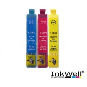 Pack de 3 Cartouche couleur CYM INKWELL compatible EPSON T2992/T2893/T2994 pour XP-245, XP-235, XP-332, XP-335, XP-432, XP-43