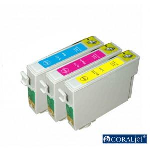 Pack de 3 Cartouche couleur CYM CORALJET Compatible EPSON T0712/T0713/T0714 pour D78/ D92/ D120/ DX4400/ DX5050