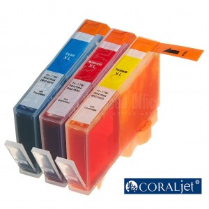 Pack de 3 Cartouche couleur CYM CORALJET Compatible HP 920XL pour imprimante 6000/ 6500/ 7000/ 7500/ 7500A
