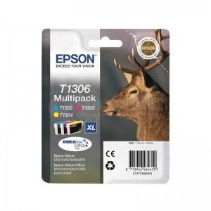 """Multipack """"Cerf"""" EPSON T1306 Encre DURABRITE Ultra (C,M,J) Haute Capacité -C13T13064012-"""