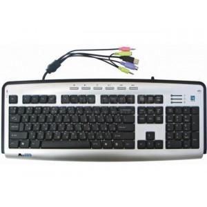 Clavier A4TECH slim multimedia Natural_A, USB, port jack audio, Fr/Ar, azerty Gris