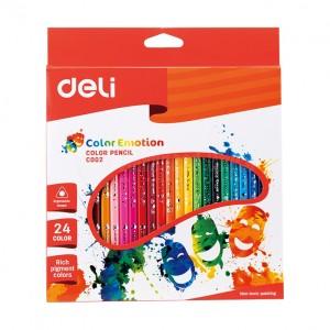 Boite de 24 crayons de couleur DELI Color Emotion C002 20 rond GM