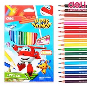 Boite de 18 Crayons à cire DELI Super Wings C00810 Hexagonal GM