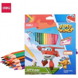 Boite de 24 Crayons à cire DELI Super Wings C00820 Hexagonal GM