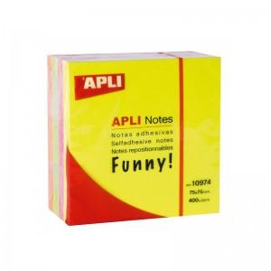 Post it APLI 75 x 75mm 4 couleurs
