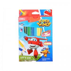 Boite de 36 Crayons à cire DELI Super Wings C00830 Hexagonal GM