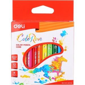 Boite de 12 crayons de couleurs DELI ColoRun C099 Wood free Triangulaire PM