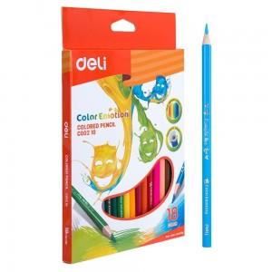 Boite de 18 crayons de couleur DELI Color Emotion C002 10 triangulaire GM