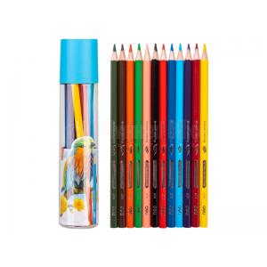 Boite ronde de 12 crayons de couleurs DELI C111-12 Hexagonal GM