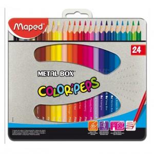 Boite Métallique de 24 crayons couleur MAPED Color'Peps