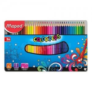 Boite métallique de 36 crayons couleur MAPED Color'Peps