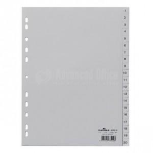Intercalaire INDEX  A4 1-20 en plastique Gris