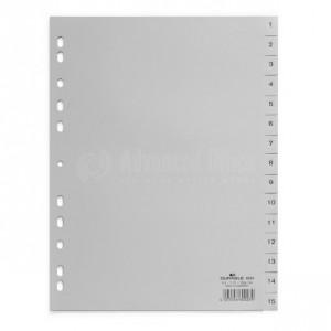 Intercalaire DELUXE A4 1-15 en plastique Gris