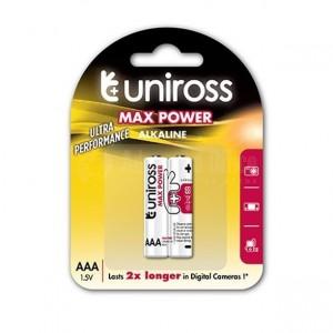 Jeu de 2 piles UNIROSS Max Power Alkaline AAA