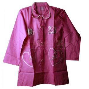 Tablier primaire IBADIKIDS à boutons avec manches, avec Col Claudine pour Filles 06-12 ans, Motif Brodé Modèle cœur, Rose