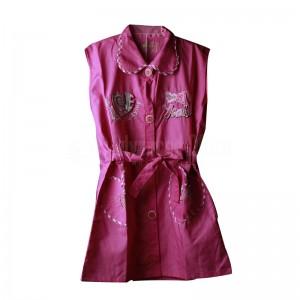 Tablier primaire IBADIKIDS à boutons sans manches, avec Col Claudine pour Filles 06-12 ans, Motif Brodé Modèle Cœur, Rose
