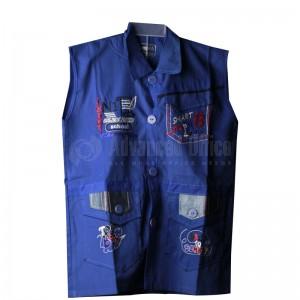 Tablier primaire IBADIKIDS à boutons sans manches, avec Cols pour Garçon 06-12 ans, avec Poche avant à rabat côté gauche Motifs brodé, Bleu