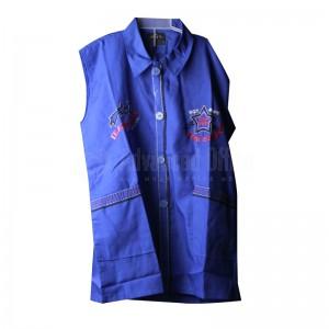 Tablier primaire IBADIKIDS à boutons sans manches, avec Cols pour Garçon 06-08-10 ans, Motif Brodé, Bleu