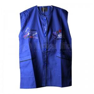 Tablier primaire IBADIKIDS à boutons sans manches, sans Cols pour Garçon 06-08-10 ans, Motifs brodé, Bleu