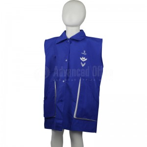 Tablier primaire VERTEX TAB-BL003 à col, Fermeture central à boutons, Sans manches, Bleu avec 2 Poches pour Garçon 11-12 ans avec Bavette