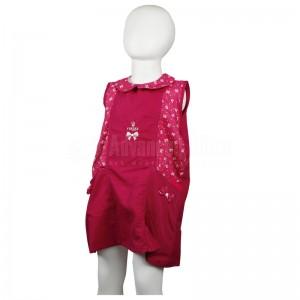 Tablier primaire VERTEX TAB-RS001 à col, Fermeture au dos à boutons, Sans manches, Rose Motif Noeud papillon pour Fille 6 ans